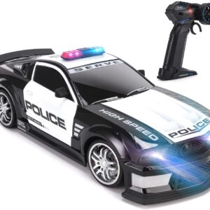 1:12 RC Police Patrol Sports Car | 2.4GHz High Speed Radio Remote Control Toy Cop Vehicle with LED Headlights