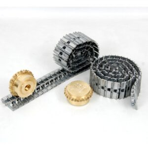 Links made in 1-piece aluminum. Tracks are shipped assembled. Sprocket wheels included. Each track is made up of 58 links.